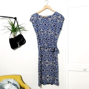 Boden Faux Wrap Professional Dress Ikat Indigo - 8